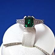 SALE Exquisite .82 Columbian Emerald & Diamond Estate Ring Platinum