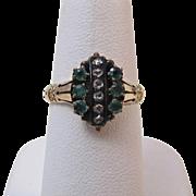 SALE Adorable Antique Victorian Emerald & Diamond Ring 14K