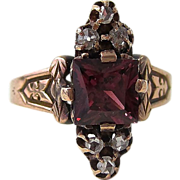 SALE Perfect 1.44 Rhodolite Garnet & Diamond Antique Victorian Ring 14K