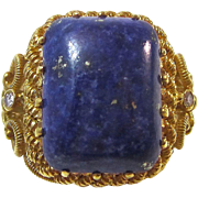 SALE Magnificent Lapis & Diamond Vintage Dinner Ring 22K