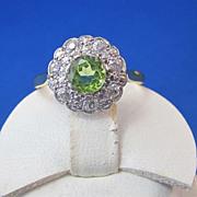 SALE Romantic 1.49 Peridot Diamond Edwardian Cluster 18K/Platinum Vintage Ring