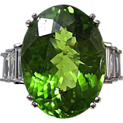 SALE Outstanding 7.69 Peridot & Diamond Platinum Vintage Ring