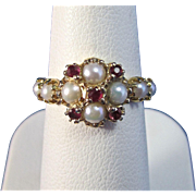 SALE Enchanting Ruby & Cultured Pearl Art Deco Vintage Ring 14K