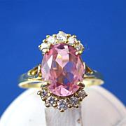 SALE Romantic 2.25 Pink Tourmaline & Diamond Vintage Ring 18K