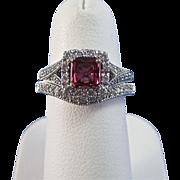 SALE Romantic .58 Ruby & Diamond Vintage Wedding Set 14K