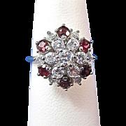 SALE Ravishing Ruby & Diamond 14K Gold Cluster Ring