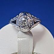 SALE Fabulous .69 Diamond Natural Sapphire Art Deco Engagement Ring 18K