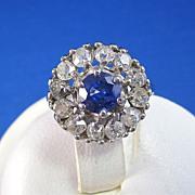SALE Brilliant Sapphire & Old Mine Cut Diamond Estate Ring 14K