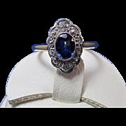SALE Fabulous .94 Sapphire & Diamond Art Deco Vintage Ring 14K