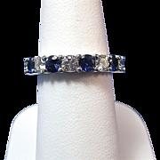 SALE Perfect .84 Natural Sapphire & Diamond Vintage Wedding Band