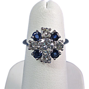 SALE Stunning .97 Diamond Natural Sapphire Vintage Engagement Ring Platinum
