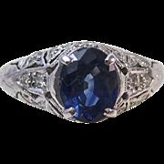SALE Fabulous Natural Sapphire & Diamond Engagement/Right Hand Art Deco Ring Platinum