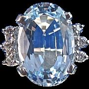 SALE Breathtaking 8.88 Blue Topaz & Diamond Estate Ring 14K