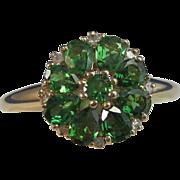 SALE Elegant 1.23 Natural Tsavorite Garnet & Diamond Cluster Floral Estate Ring