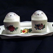 Czechoslovakian Lusterware Salt and Pepper with Tray