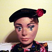 SALE 1950's Black Straw Hat