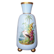 Tall Opaline Vase with  Hand Painted Scenic Tropical Scene & Bird