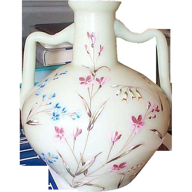 Custard Vase with Enameled Flowers Decoration