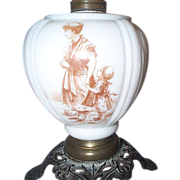 19 C Milk Glass Oil Lamp