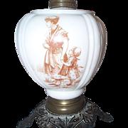 19 C Milk Glass Oil Lamp