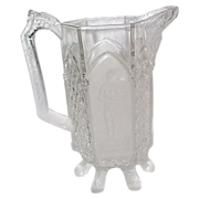 EAPG Gillinder's Classic 1885  Milk Pitcher with Log Feet - Scarce