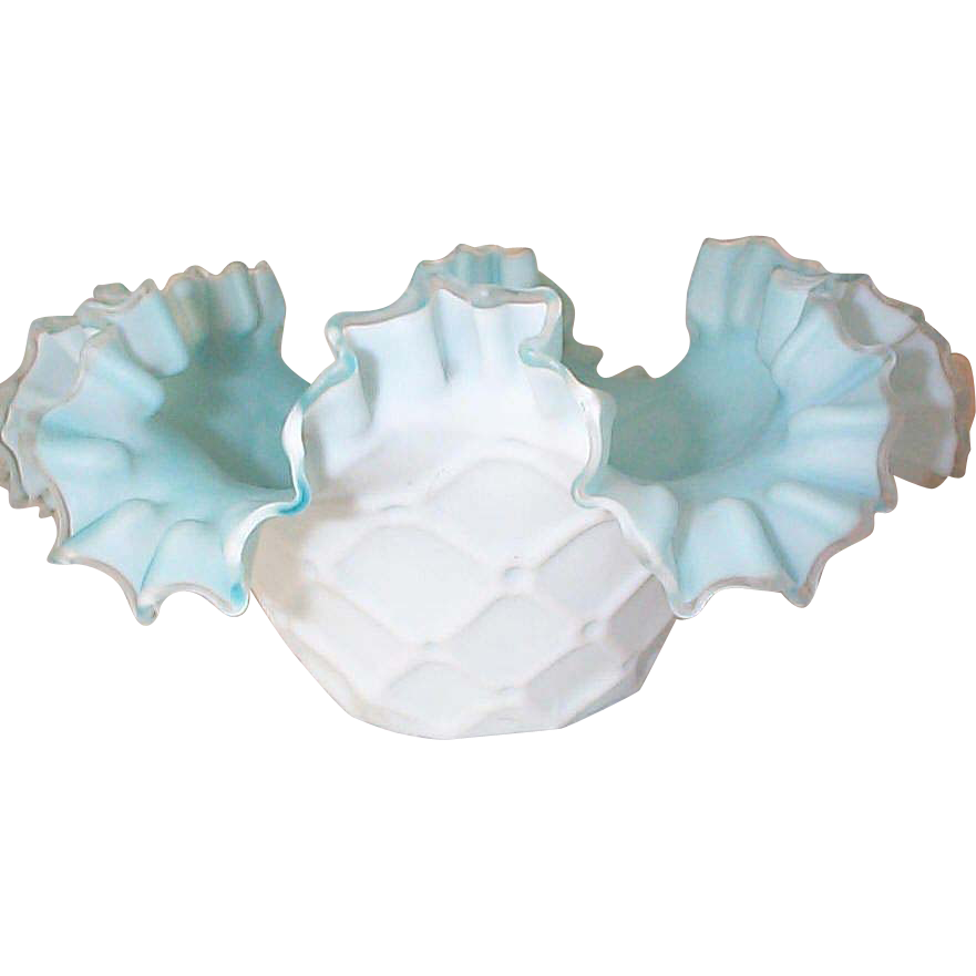 Rare Consolidated Glass Quilted Pillow Brides Bowl - 1890's
