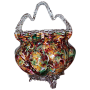 Extra Large Art Glass Basket C 1880's - Museum Quality
