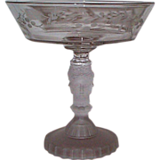 EAPG - Original George Duncan & Sons Three Face Open Compote With Etched Design