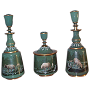 3 Piece Figural Glass Cologne Perfume Vanity Set - C 1880's