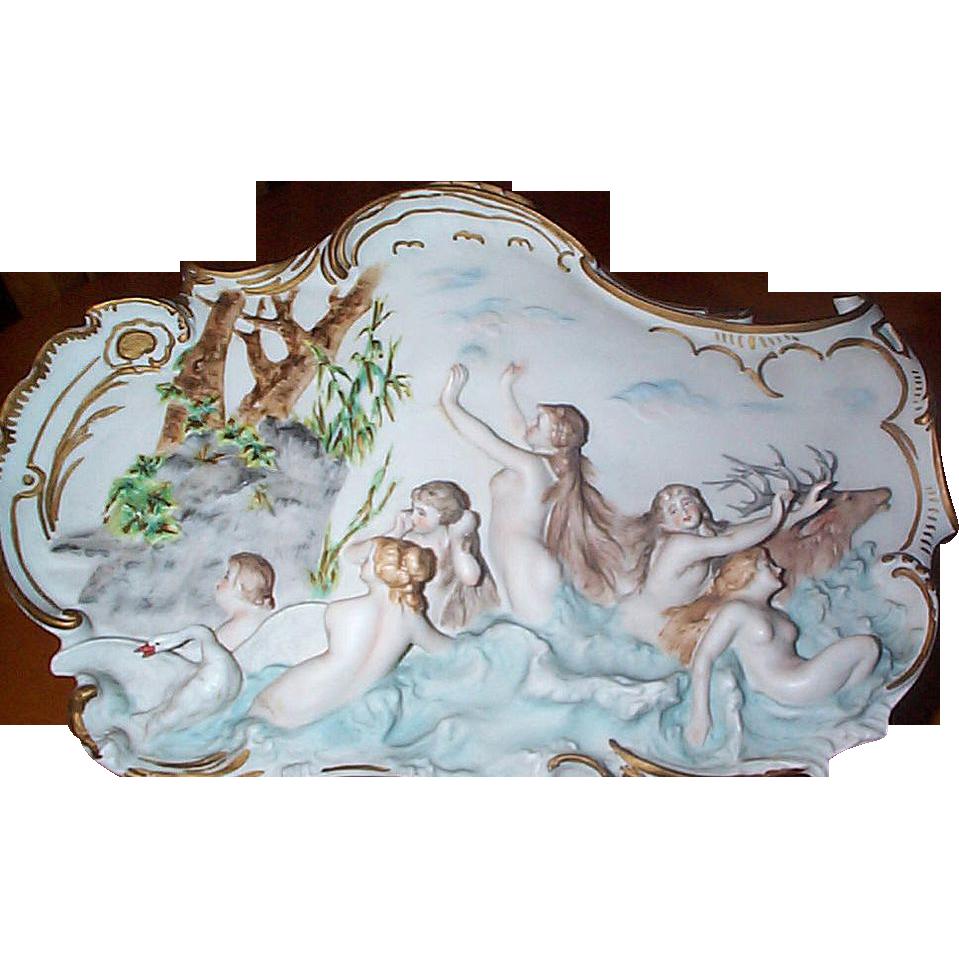High Relief  Volkstedt  German Jasperware Plaque with Nude Figural Scene