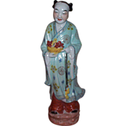 Chinese Figurine Holding Bowl in hand w/Lotus Flower