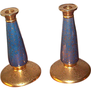 Pair of Pickard Blue Lustre Candlesticks C 1920's