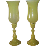 Rare French Yellow Opaline Candlesticks - Portieux Vallerysthal