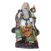 "Signed 15"" Oriental Buddha Figurine - Enameled Traveling  Laughing  Buddha"