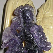 SOLD Rare Chinese Carved Amethyst Hard Stone Figure of Oriental Lady or Goddess