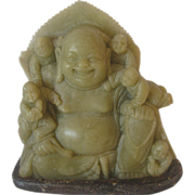 Hardstone Carving of Laughing Buddha with Children - Soapstone