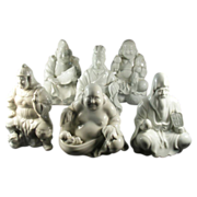 Six Blanc de Chine Figures of The Seven Lucky Gods of Japan