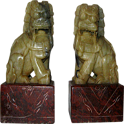 Pair of  Hardstone Foo Dogs