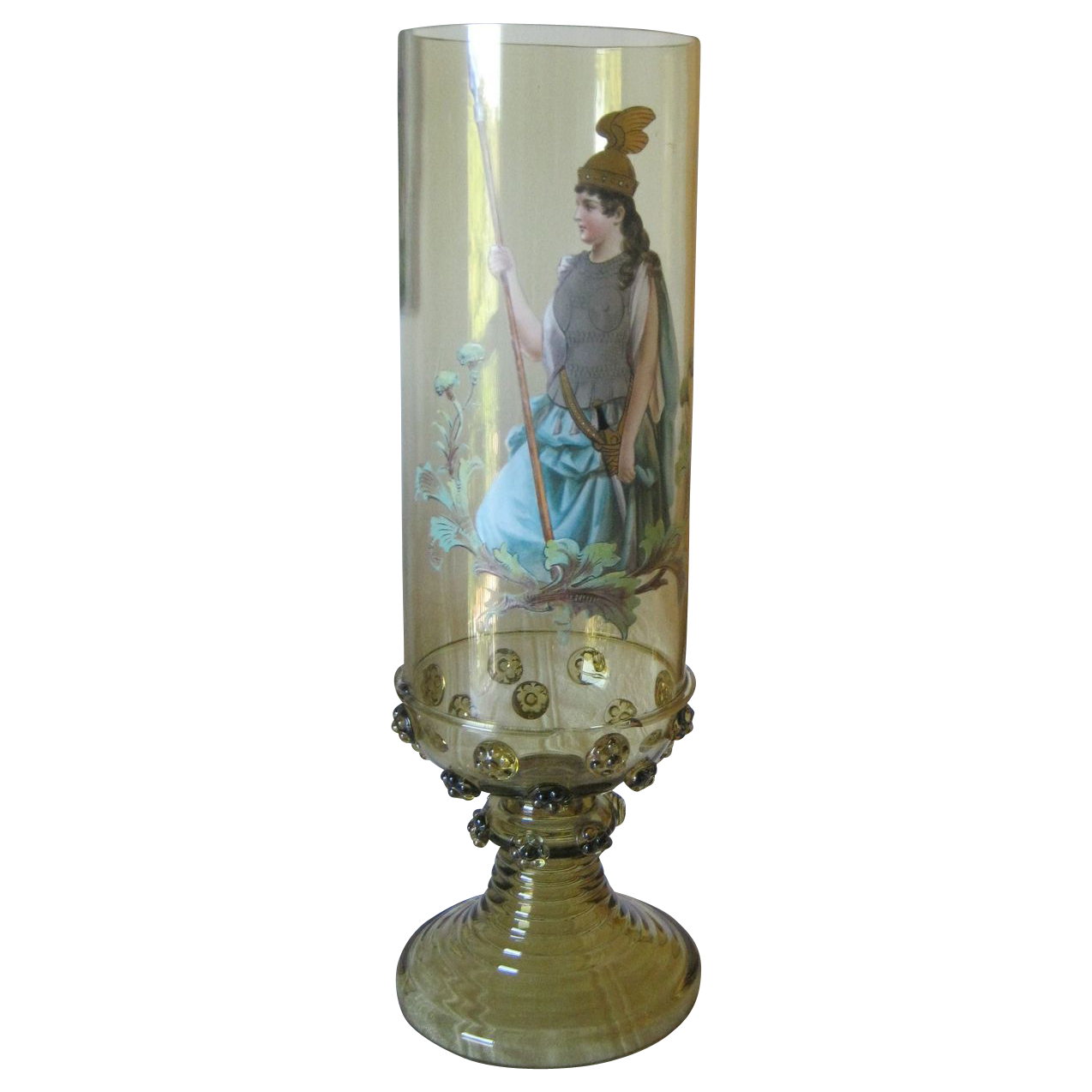 """13 l/2"""" Tall Harrach Vase Painted by Josef Pfohl C 1880's"""