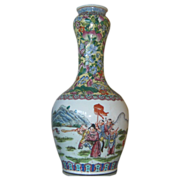 Early Republic Famille Verte Vase - Height 14 Inches - Children at Play