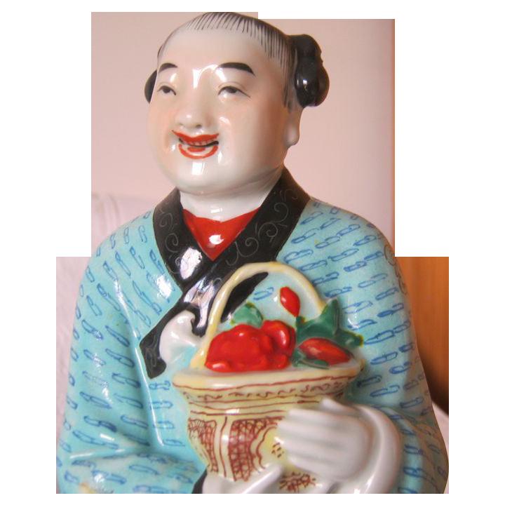 "Tall Chinese Statue of Lan Chai Hi - 11 3/4"" Tall"