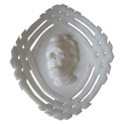 President Lincoln Milk Glass Lincoln Log Plate - Scarce