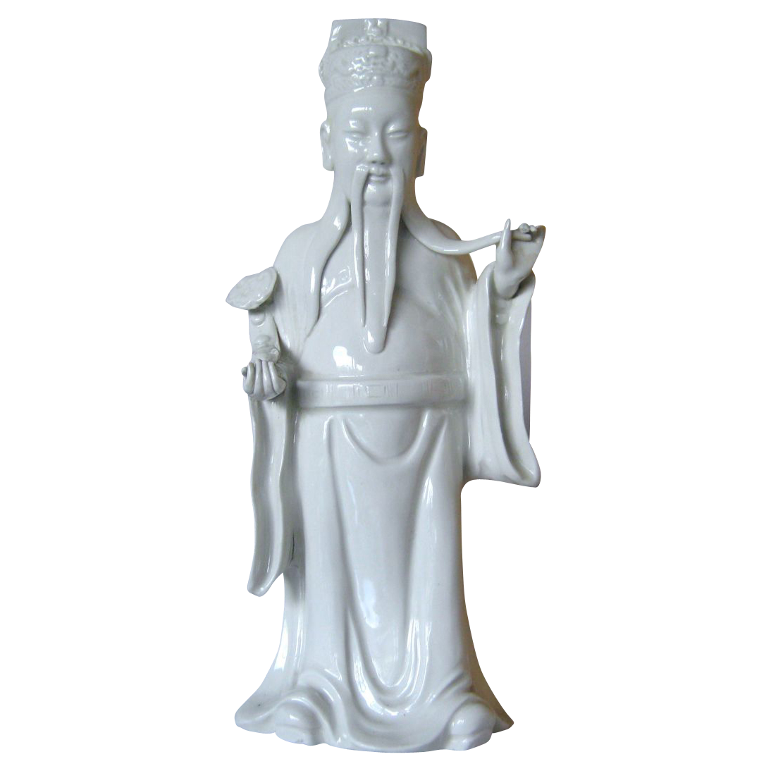 """Blanc de Chine Statue of """"Luk"""" - one of the 3 lucky gods - Hand molded"""