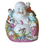 Laughing Buddha w/Children - Early 1950's - 9 Inches Tall
