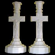 Boston and Sandwich 12 Sided Base Crucifix Candlestick - Opal