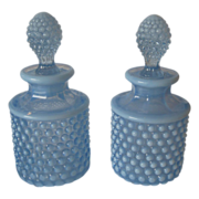 Blue Opalescent Hobnail Perfume Bottles - 1930's - Duncan and Miller Glass