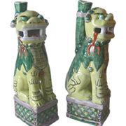 Famille Verte Foo Dogs With Joss Stick Holders