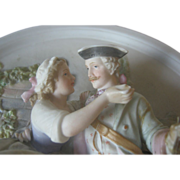 High Relief German Bisque Plaque - Early 1900