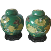 SALE A set of Early 20th Century Ginger Jars With Stand.