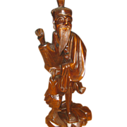 SALE Tall Chinese Wood Carving of Elder Holding Large Fish